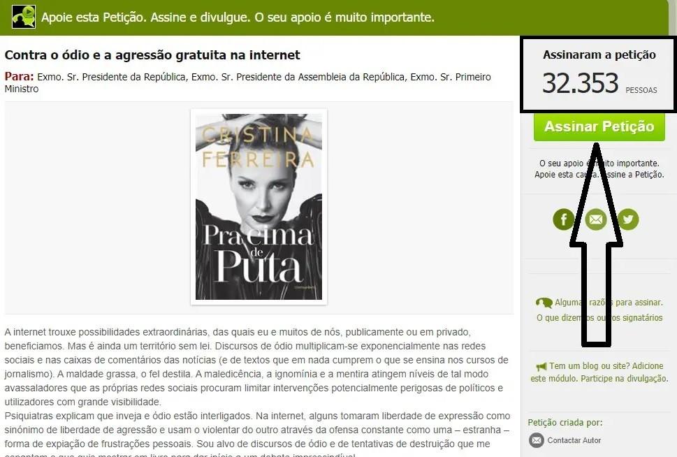 Petição de Cristina Ferreira conta já com milhares de assinaturas