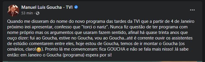 Goucha revela que não gostou do nome do seu novo programa