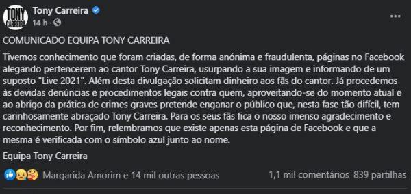 """Tony Carreira expõe páginas falsas com o seu nome: """"Estão a pedir dinheiro aos fãs"""""""